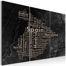 Cuadro Text map of Spain on the black