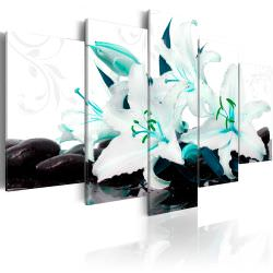 Tableau Turquoise lilies and stones