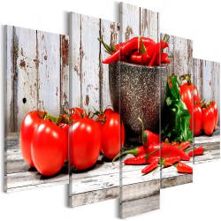 Tableau Red Vegetables 5 Parts Wood