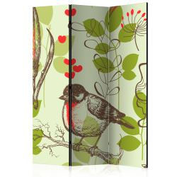 Room Divider Bird and lilies vintage