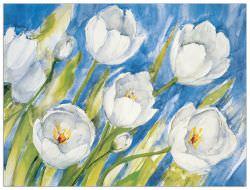 Stampa applicata a caldo su pannello in legno Tulipani di Tartagni