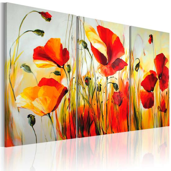 Handmade painting Red meadow