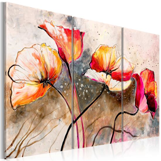 Handmade painting Poppies lashed by t