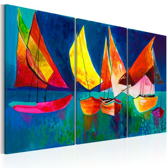 Handmade painting Colourful sailboats