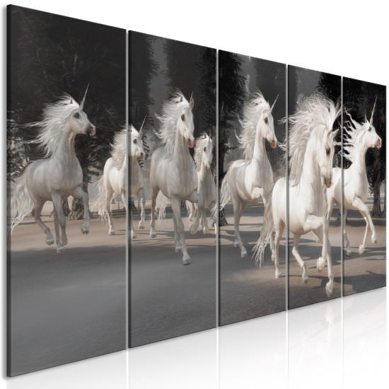 Canvas Print Unicorns Run 5 Parts N