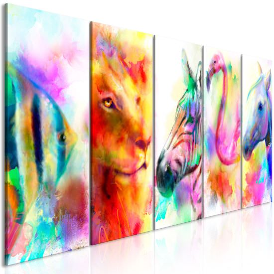 Canvas Print Rainbow Watercolours 5