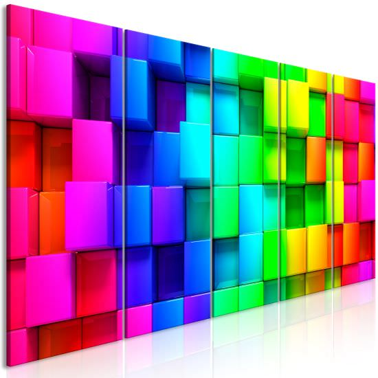 Cuadro Colourful Cubes 5 Parts Narr