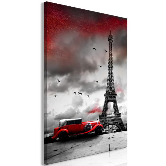 Quadro Red Car in Paris 1 Part Vertical
