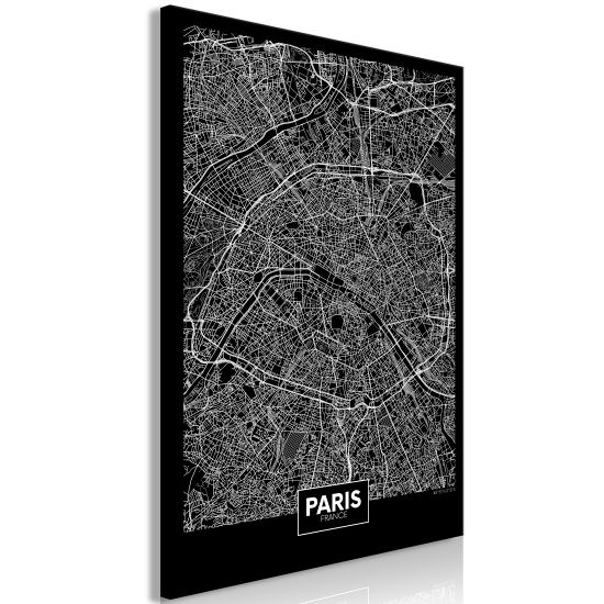 Quadro Dark Map of Paris 1 Part Vertical