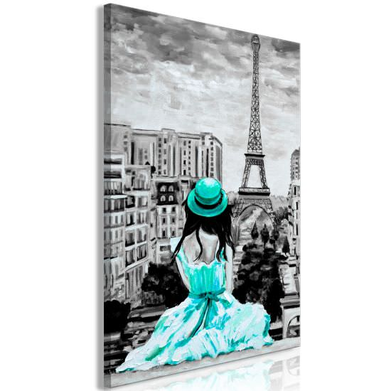 Quadro Paris Colour 1 Part Vertical Gree