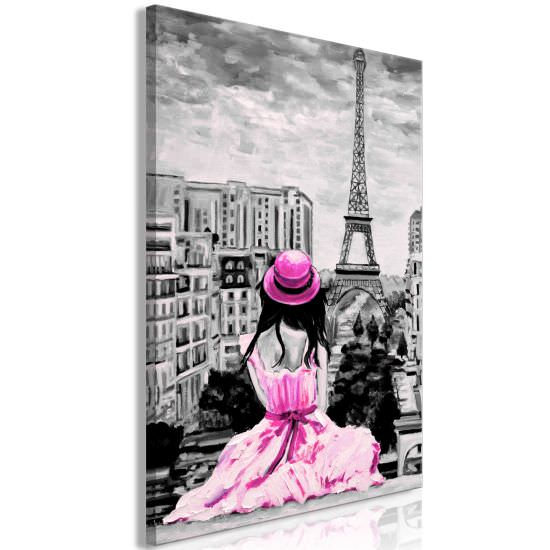 Quadro Paris Colour 1 Part Vertical Pink