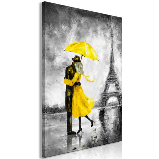 Quadro Paris Fog 1 Part Vertical Yellow
