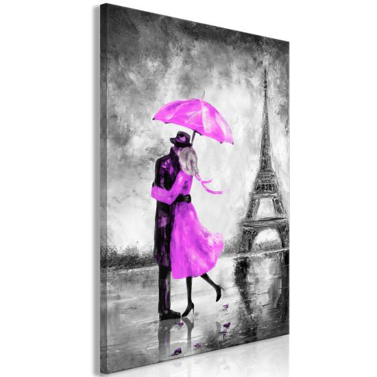 Quadro Paris Fog 1 Part Vertical Pink