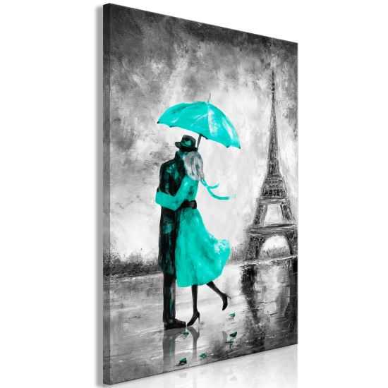 Quadro Paris Fog 1 Part Vertical Green