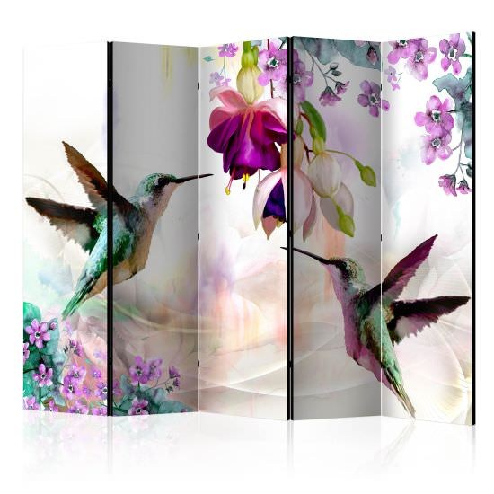 Room Divider Hummingbirds and Flowers