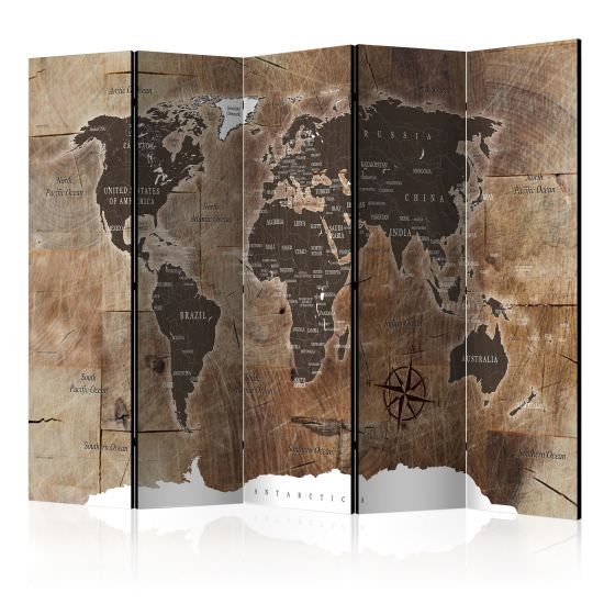 Paravento Room divider – Map on the wood