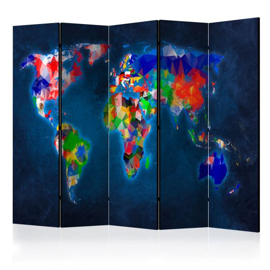 Paravento Room divider – Colorful map