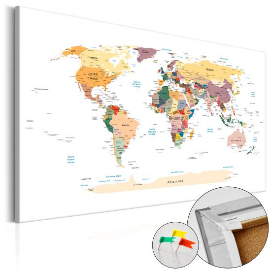 Decorative Pinboard World Map [Cork M