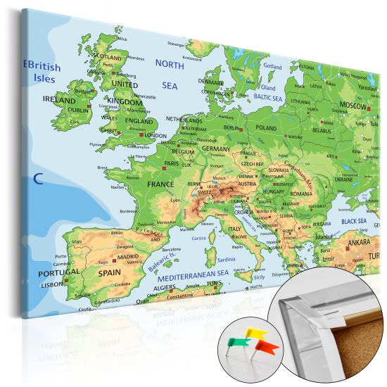 Decorative Pinboard Europe [Cork Map]