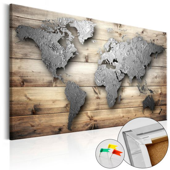 Quadri di sughero Silver World Cork Map
