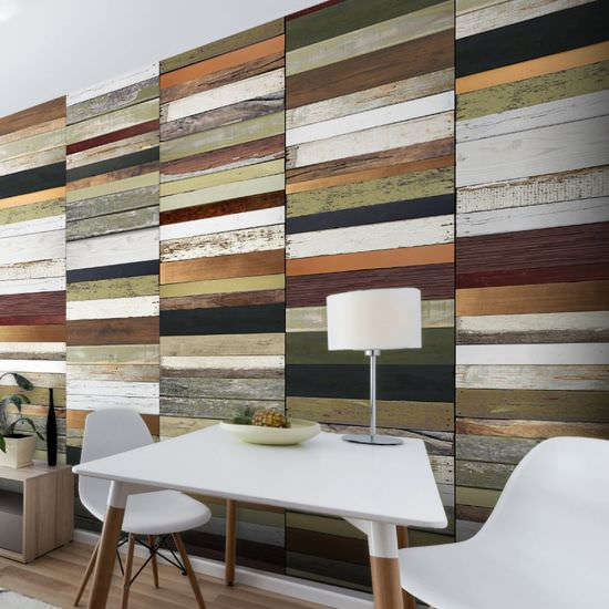 Wallpaper Rainbowcolored wood tones