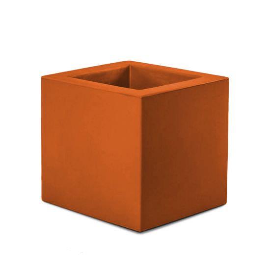 Square resin planter orange color