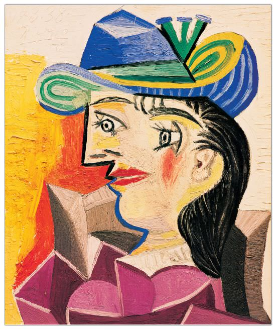 Quadro Decorativo Woman With A Blue Hat