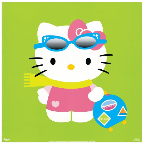 Quadro Decorativo Hello Kitty Green