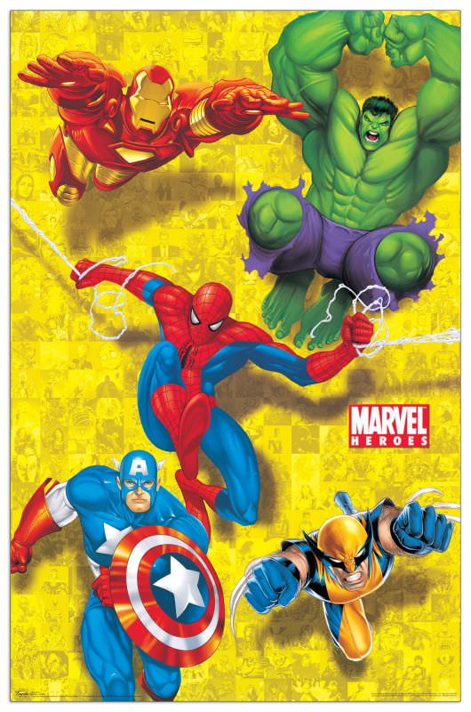 Quadro Decorativo Marvel Heroes