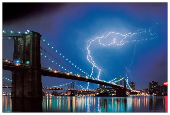 Quadro Decorativo Brooklyn Bridge Lightning
