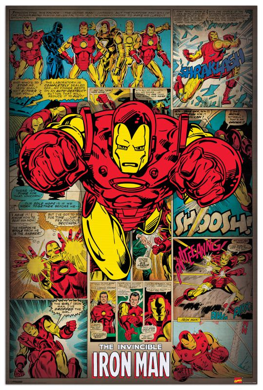 Quadro Decorativo Iron Man Retro