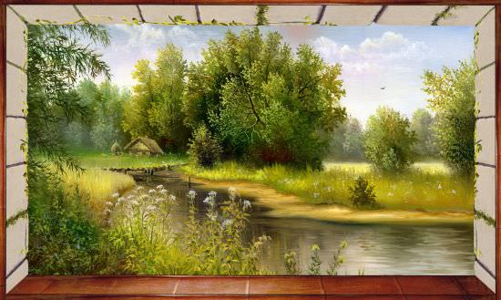 Affresco trasferibile Finestra su fiume di campagna