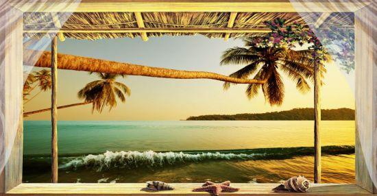 Affresco trasferibile Finestra su mare tropicale