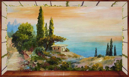 Affresco trasferibile Finestra su paesaggio lacustre