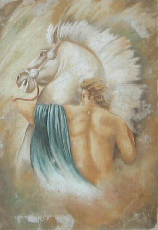 Affresco a strappo Uomo con Cavallo