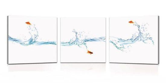 Tris di quadri moderni con pesciolino rosso