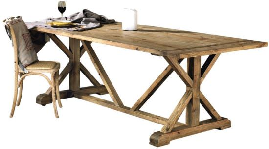 Rectangular table in pine wood 240 cm