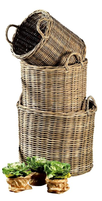 Set 3 Round baskets with handles Rabarba