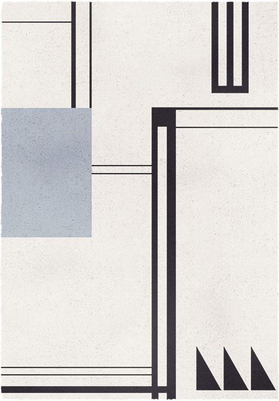 Tappeto Nordic Bianco e Nero 160x230 cm