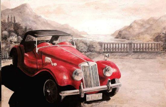 Dipinto Alfa Romeo rossa