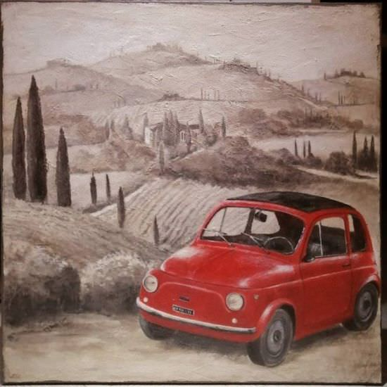 Dipinto Fiat 500 rossa in Toscana