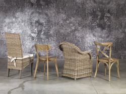 Elm chair and natural rattan seat