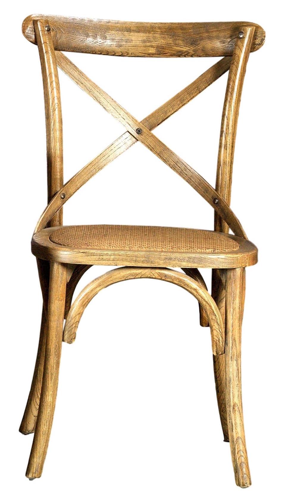 Sedia di legno con seduta imbottita in rattan naturale