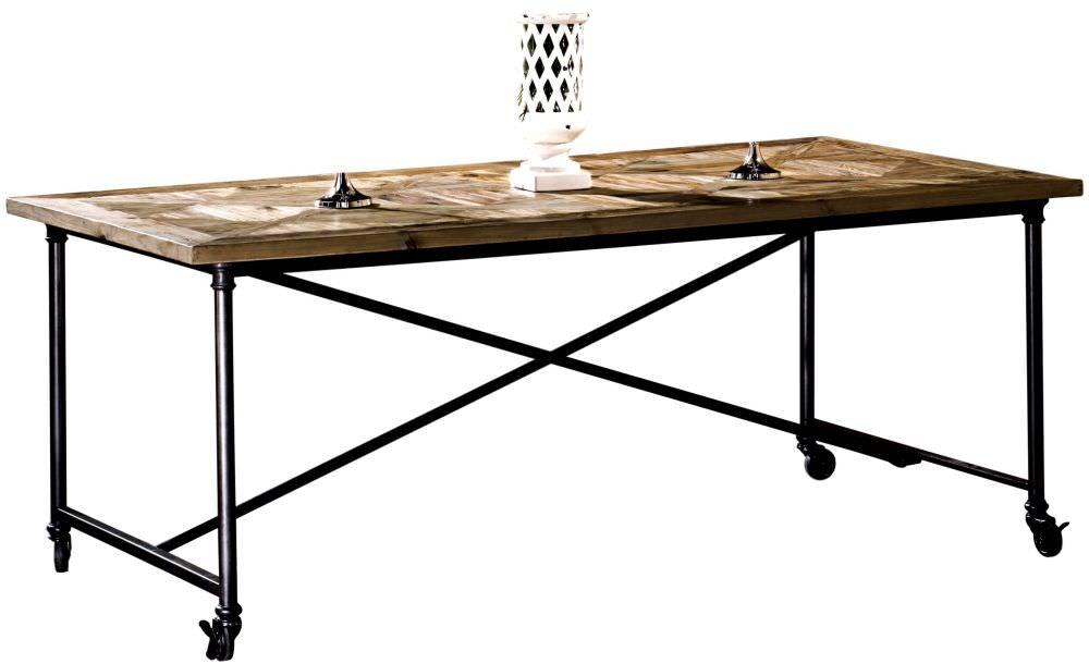 Tavolino Con Le Ruote.Tavolo In Ferro Con Ruote E Piano In Pino Vecchio Intarsiato
